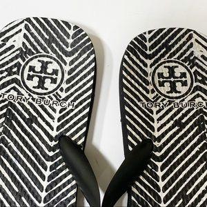 Tory Burch Shoes - Tory Burch black&white stripped rubber flip flops